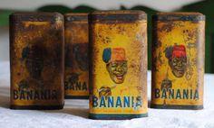Vintage publicitaire / boites de rangement pour la boisson populaire « Banania ». Lensemble contient 4 boîtes - « Ditmar », « café » (café),
