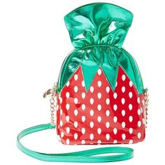 KITSCH STRAWBERRY CANDY CROSSBODY ❤ liked on Polyvore featuring bags, handbags, shoulder bags, cross body, betsey johnson crossbody, betsey johnson purses, crossbody purses and betsey johnson