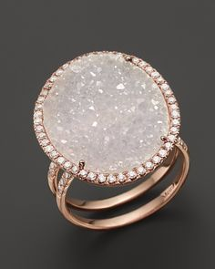 Valentines day? Anniversary? :) Meira T 14k Rose Gold Druzy Ring with Diamonds | Jewelry and Accessory