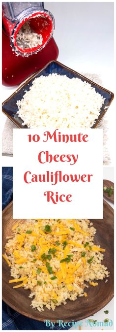 10 Minute Cheesy Cauliflower Rice is not only easy to make but also low carb and super healthy! It's the perfect dish for a light dinner or a delicious side Paleo Side Dishes, Vegetable Side Dishes, Side Dish Recipes, Dinner Recipes, Paleo Cauliflower Rice, Cheesy Cauliflower, Rice Recipes, Veggie Recipes, Healthy Recipes
