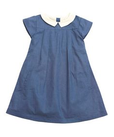 Indigo Linen-Blend School Girl Dress - Girls #zulily #zulilyfinds