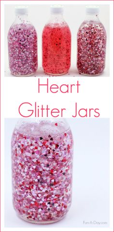 Make a glitter jar for Valentine's Day using heart-shaped glitter - two different ideas for making these sensory bottles