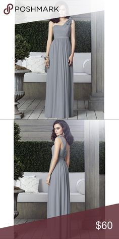 """Grey Chiffon Gown Full length one shoulder chiffon dress with flower detail on shoulder. Dress also has a matte satin inset waistband natural waist.   Worn once and cut for someone who is 5""""2' Dresses"""