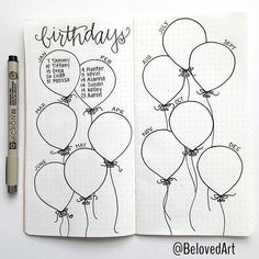 Bullet Journal Collection Ideas - The Best Ones! - Slightly Sorted Bullet journal collection ideas birthday balloons Bullet Journal Collection Ideas - The Best Ones! - Slightly Sorted Bullet journal collection ideas birthday balloons Bullet Journal 2019, Bullet Journal Notebook, Bullet Journal Spread, Bullet Journal Inspo, My Journal, Journal Pages, Birthday Bullet Journal, Bullet Journal Events, Bullet Journal Ideas How To Start A