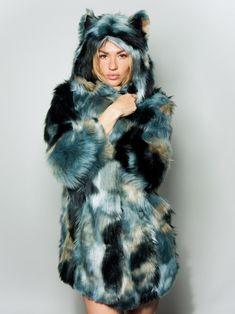 Marble Fox Faux Fur Coat - SpiritHoods
