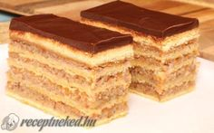Mennyei zserbó Hungarian Desserts, Hungarian Recipes, Zserbo Recipe, Cake Cookies, Tiramisu, Deserts, Food And Drink, Cooking Recipes, Favorite Recipes
