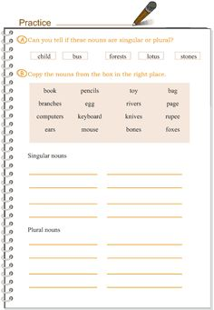 Grade 3 Grammar Lesson 2 Nouns – singular and plural Easy Grammar, English Grammar For Kids, English Spelling, English Phonics, Teaching English Grammar, Learn English Words, Grammar Lessons, English Language Learning, English Lessons