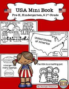 United States of America Mini Book for Early Readers - A Country Study Kindergarten Books, Preschool Books, Preschool Classroom, 1st Grade Books, Facts About America, Usa Facts, State Crafts, Teaching Geography, Early Readers