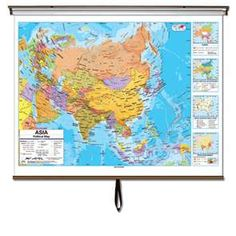 The Asia Advanced political Classroom wall map features four insets, Climate, Energy, Manufacturing, and Trade, Population Density, and Natural Vegetation and Environment.  The Advanced political Classroom wall map series provides a wealth of valuable information including country and state boundaries as well as capitals, major waterways, and major cities. #Globes #Education #geography #teaching #classroommaps #classroomglobes