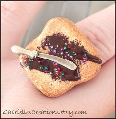 Chocolate Spread Ring - Nutella Inspired - Miniature Knife Kawaii Miniature Ring - Miniature Jewelry Food Miniature Sweet Polymer Clay on Wanelo