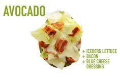 PALTA RELLENA -   Lechuga mantecosa en trozos, panceta grillada por encima y condimentar con un dressing que incluya queso azul ... un manjar !!!