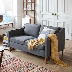 Hamilton Upholstered Sofa - Salt + Pepper (Tweed) | west elm