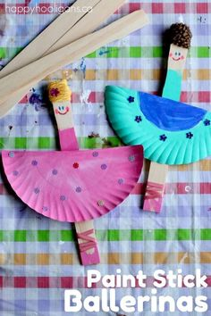 Paint stick ballerina craft - great activity for when the kids from dance class get together Crafts For Kids To Make, Fun Crafts For Kids, Craft Activities For Kids, Summer Crafts, Toddler Crafts, Art For Kids, Motor Activities, Sensory Activities, Happy Hooligans