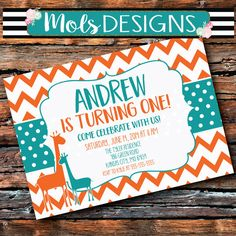 Any Color GIRAFFES BIRTHDAY ORANGE Turquoise Chevron Safari Jungle Petting Zoo Elephant First 1 2 3 4 5 6 Boy Baby Shower Couples Invitation