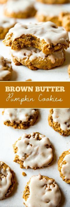 Massively flavorful and simple brown butter pumpkin oatmeal cookies with icing on top! Recipe on sallysbakingaddic...