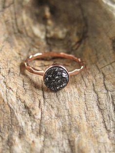 Druzy Ring winzigen schwarzen Druzy Ring Rose Gold Druzy
