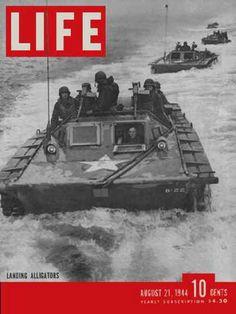 Life Magazine Copyright 1944 Amphibious Landing Alligators - www.MadMenArt.com…