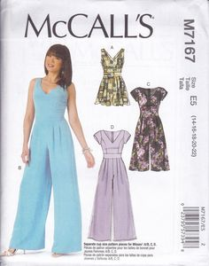 FREE US SHIP McCalls 7167 Sewing Pattern Hostess Jumpsuit Romper Princess Seams bodice Size 14 16 18 20 22 Plus Bust 36 38 40 42 44 New by LanetzLiving on Etsy