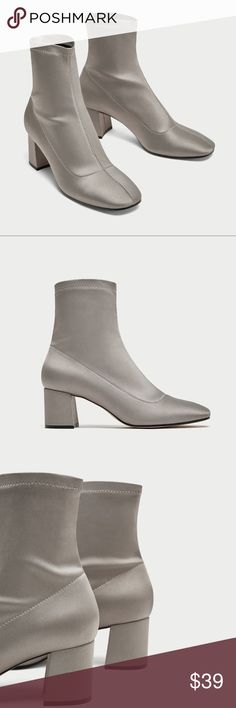 Zara satin ankle boots with chunky heel nwt