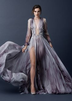 Sleeved print gown with plunging neckline and floral embroidery from the Paolo Sebastian 2015 AW collection // The Sleeping Garden: Paolo Sebastian's Autumn/Winter 2015 Collection