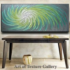 Medida 70 x 30 gran Resumen Impasto pesado textura Aqua gris