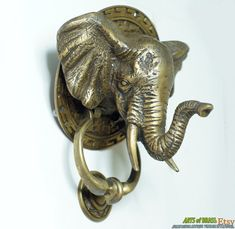 """7.08"""" inches Vintage Antique Large mammoth Elephant Indian Head Door Knocker Cast Solid Brass"""