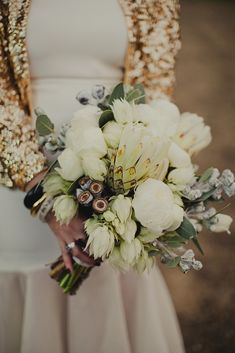 That sequined jacket is divine! Gold Wedding Gowns, Gold Wedding Theme, Wedding Book, Wedding Themes, Wedding Vendors, Floral Wedding, Wedding Bouquets, Wedding Styles, Wedding Flowers