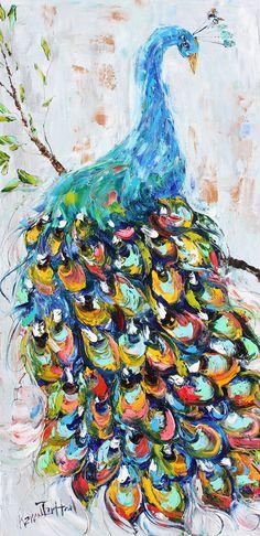 Original oil painting Peacock bird abstract impressionism fine art impasto on canvas by Karen Tarlton