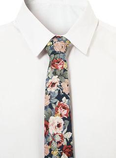 Blue Jumbo Floral Tie - Ties and Bow Ties - Accessories - TOPMAN