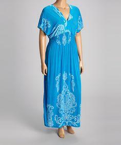 Look what I found on #zulily! Aqua Paisley Shirred Maxi Dress - Plus #zulilyfinds