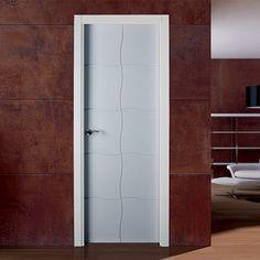 Puertas Sanrafael Lacada Model 980 interior fire door with grids of wavy lines. #lacada #doors