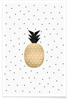 Golden Pineapple als Premium Poster von Elisabeth Fredriksson Cute Wallpapers, Wallpaper Backgrounds, Iphone Wallpaper, Art Mural, Wall Art, Pineapple Wallpaper, Poster Online, Grafik Design, Graphic Art