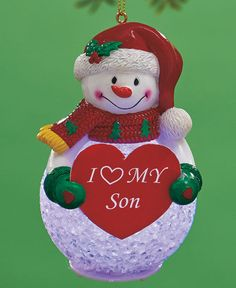 I Heart My Son Snowman Color-Changing Themed Snowman Ornaments