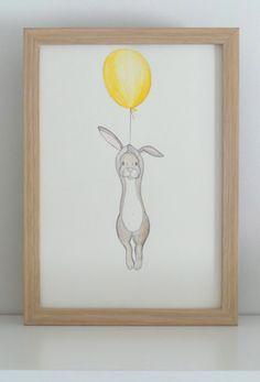 Schwimmende Kaninchen-Kindergarten-Kunst-Grafik-Zeichnung-Illustration-A5 auf Etsy, 9,91 €