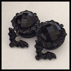 PICK SIZE Black Gem Bats Dangle Girly Custom Goth Plugs by Lovekillsboutique on Etsy https://www.etsy.com/listing/157715935/pick-size-black-gem-bats-dangle-girly