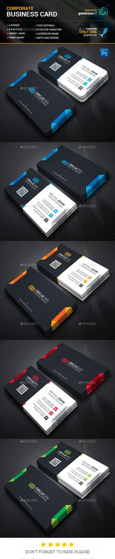 Clean Corporate Business Card Template PSD #design Download: http://graphicriver.net/item/clean-corporate-business-card/14273945?ref=ksioks