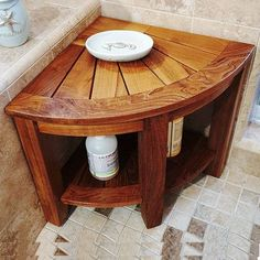 Teak Benches For Sale! Discover the top-rated teak benches and teak shower benches for your indoor or outdoor space. We love teak wood benches and you will too. Corner Shower Bench, Corner Bench With Storage, Shower Benches, Shower Stools, Corner Shelf, Shower Storage, Shower Shelves, Benches For Sale, Wooden Bath