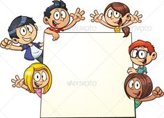 Kids Holding Sign — Vector EPS #holding #black • Available here → https://graphicriver.net/item/kids-holding-sign/5427198?ref=pxcr