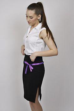 white shirt, black skirt, purple details, reception, management Waist Skirt, High Waisted Skirt, Reception, Management, Ballet Skirt, Purple, Skirts, Black, Design