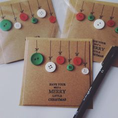 Christmas card with button baubles on brown by littlefavourcompany