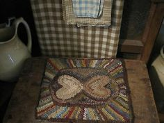 Fat Hen Farm - Primitive Wool Hooked Rug/Mat - Prim Hearts