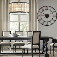 Dining Room With Black Table And Roung Wrought Iron Wall Clock : Decorative And Sturdy Wrought Iron Home Decor Huge Wall Clock, Skeleton Wall Clock, Metal Clock, Rustic Wall Clocks, Rustic Walls, Living Room Clocks, Hanging Clock, 3d Home, Home Office Decor