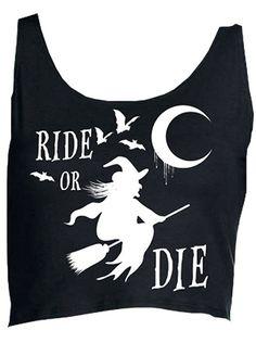 """Women's """"Ride or Die"""" Crop Top by Black Hope Curse (Black)#inked #Inkedmag #inked girls #rideordie #croptop #black #halloween"""
