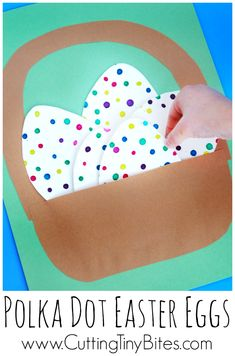 Polka Dot Easter Eggs- Fine motor kids craft for Easter. Cute eyedropper eggs in a little paper basket. Good activity for toddlers, preschoolers, kindergarten, or elementary. Easter Projects, Easter Art, Easter Crafts For Kids, Toddler Crafts, Easter Eggs, Daycare Crafts, Classroom Crafts, Preschool Crafts, Easter Activities For Kids