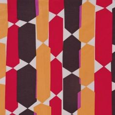 We love this bold geometric voile from a very famous NYC designer. Silk-cotton blend featuring dynamic colors of gold, brown, red and fuchsia. Perfect for summer tops, tunics and caftans.