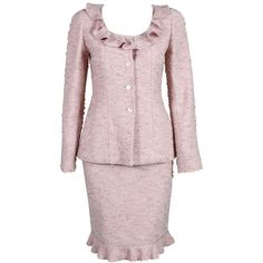 Chanel - Chanel Pink Tweed Suit ❤ liked on Polyvore featuring dresses, suits and chanel