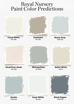 Benjamin Moore Predicts the Royal Nursery Will Include the Colors Bunny Gray and. Benjamin Moore P Neutral Nursery Colors, Nursery Paint Colors, Gender Neutral Colors, Neutral Paint Colors, Neutral Colour Palette, Nursery Color Schemes, Color Palettes, Bedroom Colors, Gray Paint