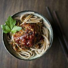 asian meatballs and spaghetti