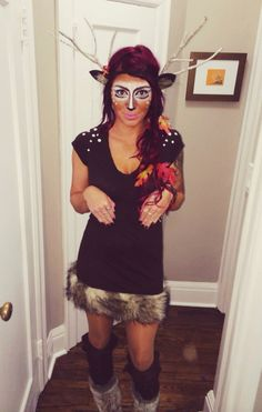 Oh Deer! DIY fall deer halloween costume using branches as an antler substitute.