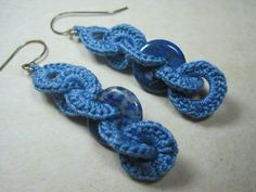 Blue dangle crochet earings interlacing by ShuvalAccessories, $37.00